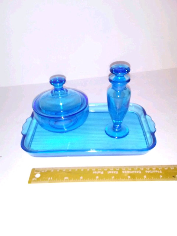 blue glass set 0f2691e8-cafa-47a6-9fe4-a061f2d3176a