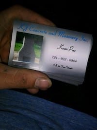 K J concrete and masonery business card McLean, 22102