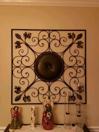 Wall decoration metal and brown leather
