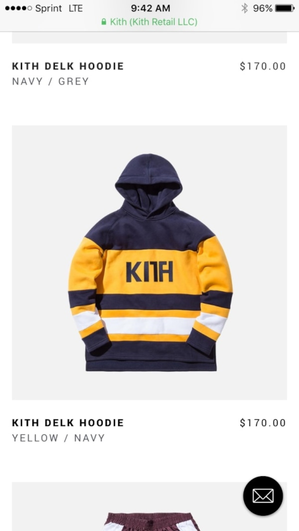 Navy Blue and yellow kith delk hoodie