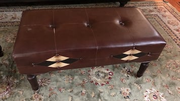 Rectangular brown leather tufted ottoman