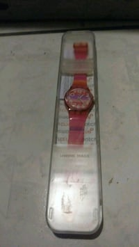 round silver analog watch with red leather strap Mesa, 85206