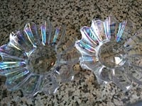 Clear rainbow colored glass dishes Tustin