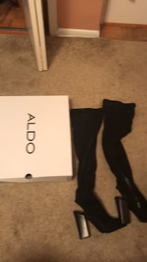 Pair of black chunky suede thigh high boots aldo