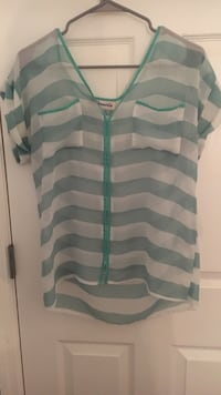 White and teal stripe blouse Windermere, 34786