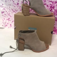 pair of gray Toms suede open toe chunky heeled slingback sandals with box East Point, 30344