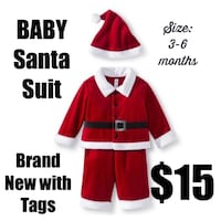 Santa suit outfit baby Christmas 3 to 6 months old Lemont, 60439