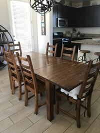 rectangular brown wooden table with six chairs dining set Santa Maria, 93458