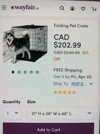 black folding pet crate screengrab Toronto, M9W 6W3