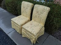 2 yellow floral parson chairs