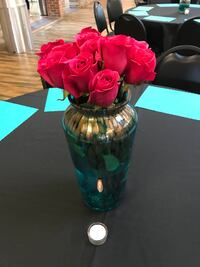 Turquoise and gold tall vases