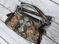 Leather purse, Silver Cross silver chain and turquoise very beautiful