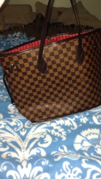 Damier Ebene Louis Vuitton leather tote bag 26 km