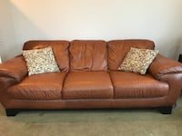 Brown leather 3-seat sofa Mount Airy, 21771