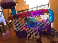 blue and red pet cage