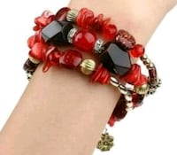 red and black beaded bracelet