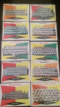 10 1960 topps team cards/checklists Yankees dodgers  1018 mi