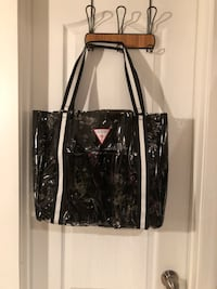 black and white Guess leather tote bag