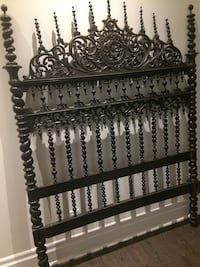 Spectacular antique Gothic wooden carved bedframe headboard