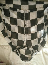white and black checked sports shirt