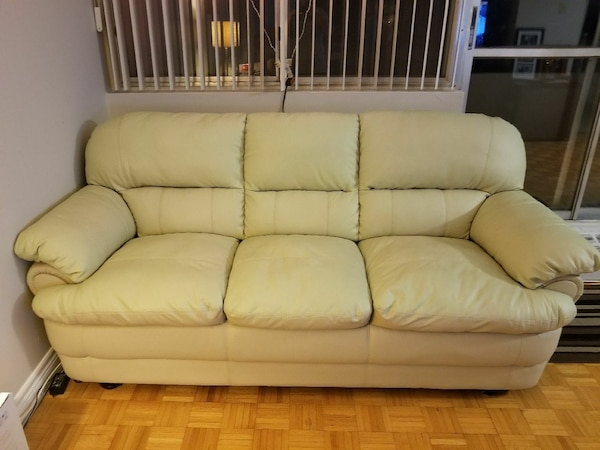 Ivory/Cream leather couch