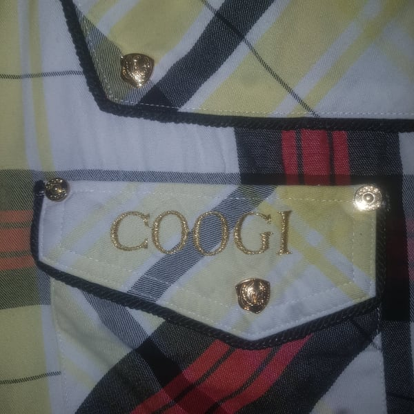 Coogi gold button shirt