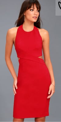 women's red halter sleeveless mini dress ASHBURN