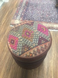 round brown and purple fabric ottoman London, N5Y 3H9