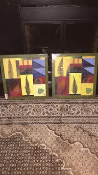 Two multi-coloured painted picture frames. Toronto, M9R 3C9