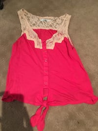 Pink and lace crop top size XS