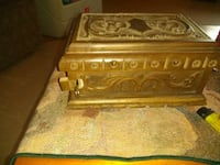 Antique handcarved lock box. Hiden compartment lock and key