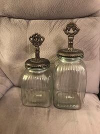 2 Ornate Large Glass Jar Containers $25/both Mount Holly, 28120