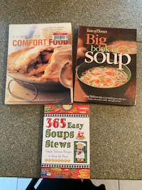 Set of three large comfort food and soup cookbook's. $5.00 for all