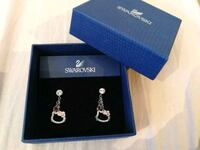 pair of silver-colored Swarovski teardrop earrings with box Toronto, M1T 3H3