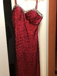 Red and silver sequins spaghetti strap dress Windsor