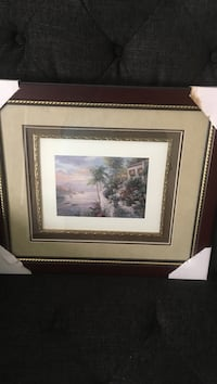 coconut tree beside river painting in brown wooden frame Moncks Corner, 29461