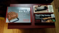 Rib rack and 2 small wood chip smokers for grill Peoria, 61615