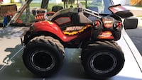black and red Wild Fire monster truck r/c toy