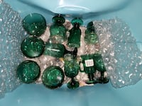 Green Glass w/gold trim - cups, bowls, etc Nashville