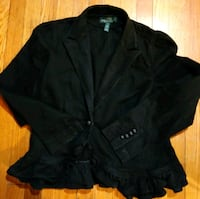 Size 14 black Ralph Lauren denim Blazer jacket ruffled button front hi Hyattsville, 20784