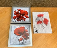 Set of 3 'Painted Poppies' wall art canvas and framed wall decor