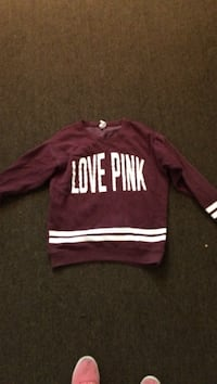 maroon and white Victoria's Secret Pink sweater