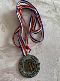 Basketball Metal with Red White & Blue Ribbon Tie