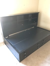 Black wooden Twin Bed with shelves and drawers Spring, 77380