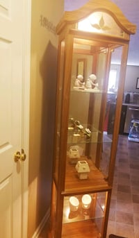 Glass cabinet with lighting and mirror Buford