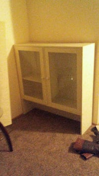 White wood glass cabine