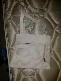 white leather sling bag