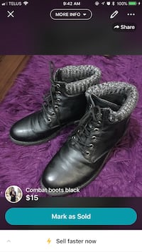 pair of black leather boots Calgary, T2A 3P3