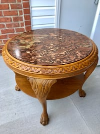 Round brown wooden pedestal marble top table Odenton, 21113