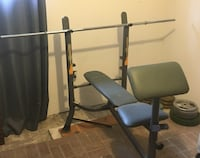 Bench, bar, 120 pounds of weights Châteauguay, J6K 2M2